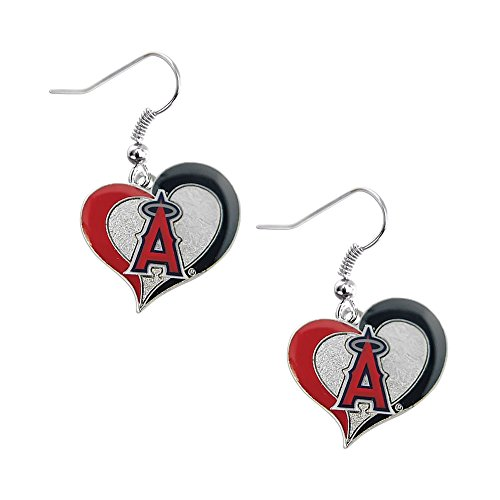 (Los Angeles Angels Swirl Heart Earrings)