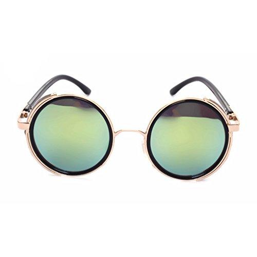 [G&T Unisex European Rock Style Retro Glasses Steampunk Metal Frame Sunglasses(C6)] (Morpheus Costumes Sunglasses)