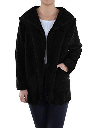 Anna-Kaci Lounge & Chill Hooded Fluffy Fleece Comfy Soft Teddy Coat Jacket, Black, - Hooded Shearling Coat