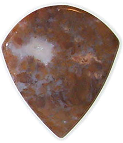 Bones Bold Type - Unique & Custom [1.6mm, Heavy Gauge- Jazz Style Semi Tip] Hard Luxury Guitar Pick Made of Genuine Swiral Jasper w/ Rustic Bold Smooth Natural Earth Design