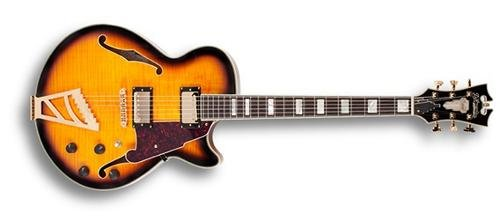 D'Angelico EXSS02 Semi-Hollow-Body Electric Guitar, Vintage Sunburst (Flamed Arch Top)