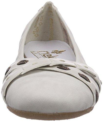Rieker 41409 - Bailarinas de material sintético para mujer blanco - Weiß (ice/ice/moro-gold / 80)