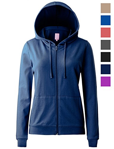 Regna X Women's Long Sleeve Casual Color Block Full Zip Hoodie Navy 2XL by Regna X