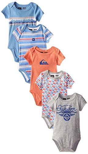 a6565f49b Quiksilver Baby-Boys Newborn 5 Pack Bodysuits Orange Blue - Import ...