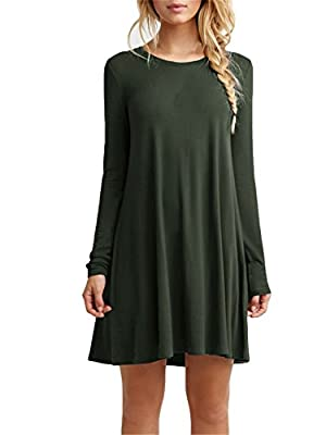 TINYHI Women's Casual Plain Long Sleeve Simple Tshirt Loose Dress