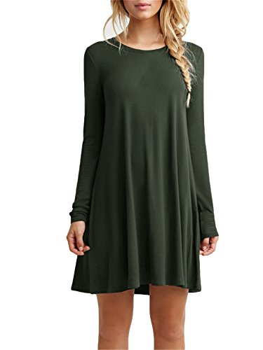 Tinyhi Womens Casual Plain Long Sleeve Simple Tshirt Loose Dress