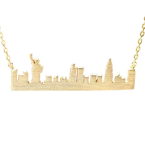 chelseachicNYC Handmade Brushed Metal New York Skyline Necklace (Gold)
