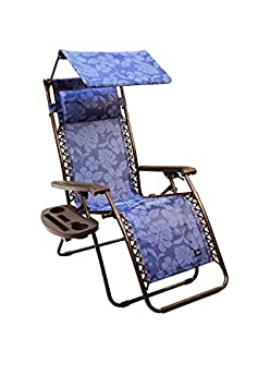 Bliss Hammocks Zero Gravity Chair with Canopy and Side Tray, Blue Flowers, 26 Wide