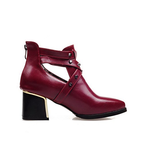 Allhqfashion Women's Low-top Solid Zipper Pointed Closed Toe Kitten-Heels Boots Claret kdZCg
