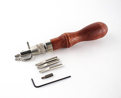 Kinee 7 in 1 Pro Stitching Groover and Creasing Edge Beveler,diy Leathercraft Sets,sew & Crease Leather,Wood & Steel Hand Tool -