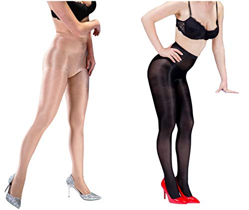(Kffyeye 70D Women's Control Top Thickness Plus Size Stockings Pantyhose, Ultra Shimmery Stretch Plus Footed Tights for Women (9011,1 Black and 1 Beige))