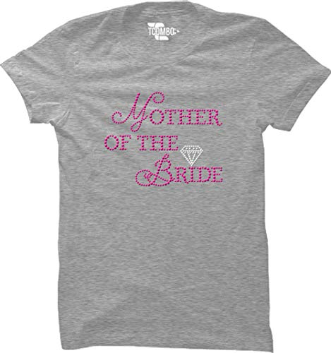 Mother The Bride Rhinestone Women's T-Shirt (Light Gray, XX-Large)