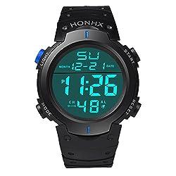 Auwer Men's Boy's Sport Waterproof LCD Digital Stopwatch Date Rubber Sport Wrist Watch (Blue)