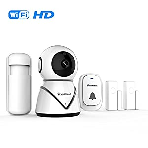 eLinkSmart WiFi Camera Kit Home Security Bell Ring Doorbell System with 2 Pack Door/Window Sensors and PIR Detector Night Vision Two Way Audio
