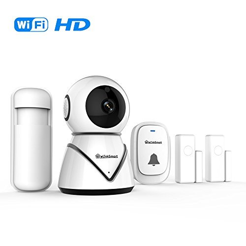 eLinkSmart WiFi Camera Home Security Alarm System Door Alarm System for Home DIY Kit with 2 Pack Door/Window Sensors and PIR Detector Night Vision Two Way Audio