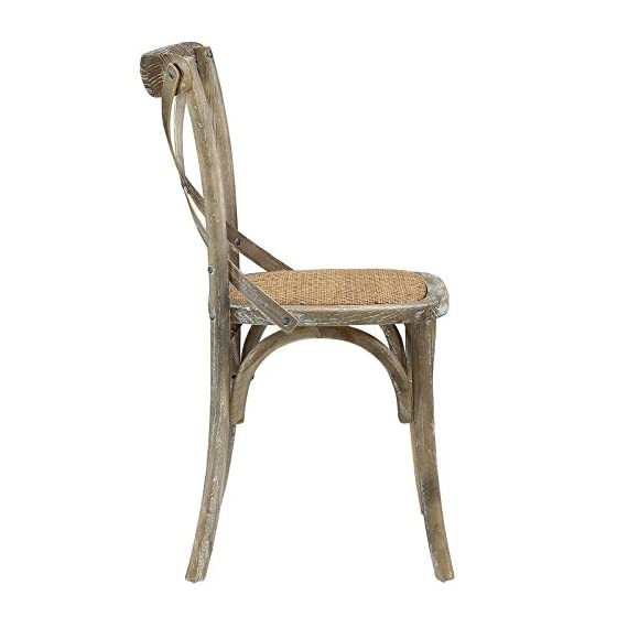 Modway Gear Rustic Modern Farmhouse Elm Wood Rattan Dining Chair in Gray - FARMHOUSE STYLE - Transporting you to a cafe on the bustling streets of Vienna, Gear effortlessly blends farmhouse and modern styles, bringing intriguing rustic charm to your dining area. SUPPORTIVE COMFORT - A preferred choice for the dining room, Gear boasts a natural rattan seat that offers a supportive, comfortable place to rest on while eating, chatting, working or reading a book. SUPERIOR CONSTRUCTION - Crafted with solid elm wood, Gear adds charm and nostalgia to the dining room. Sitting atop bowed legs, the open cross back frame is complemented by the curved apron detail. - kitchen-dining-room-furniture, kitchen-dining-room, kitchen-dining-room-chairs - 41CMJvqmT4L. SS570  -