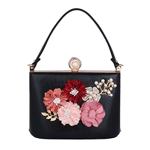 Beaded Satchel (Damara Women's Beaded Satin Flower Handbag Hardcase Bridal Party Evening Bag,Black)