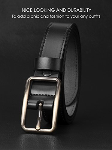 Women's Genuine Leather Skinny Belt Casual Ladies Belt for Jeans Dress Pants With Exquisite Alloy Buckle by JASGOOD