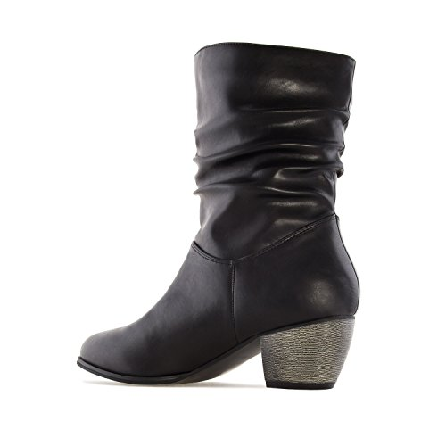 Andres Machado AM4082.Mid-Calf Buckle Boots In Faux Leather.Womens Petite&Large Szs:US 2 To 5 -US 11.5 To 13/EU 32 To 35 -EU 43 To 45 Black Faux Leather 7TsHkGn77