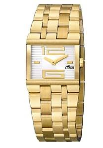 Lotus 15443-1 - Reloj analógico de mujer de cuarzo con correa de acero inoxidable dorada