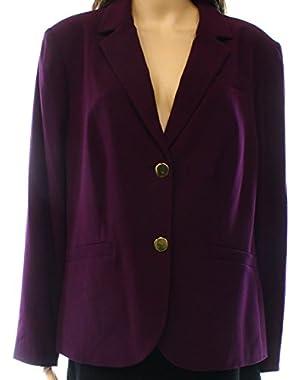 Calvin Klein Women's Plus Solid Seamed Jacket Purple 22W