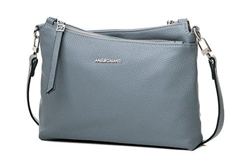 Multi Pockets Pu Leather Crossbody Bag Shoulder Purse By AMELIE GALANTI (Blue Body Bag Cross)