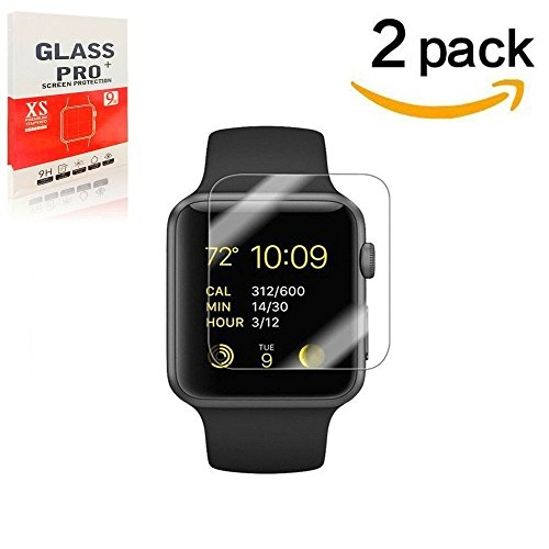 Price comparison product image SunCable [2-Pack] Apple Watch 42mm Tempered Glass Screen Protector, [9H Hardness] [Crystal Clear] [Scratch Resist] [No-Bubble] 2.5D Round Edge Screen protector for Apple Watch 42mm (2Pack)