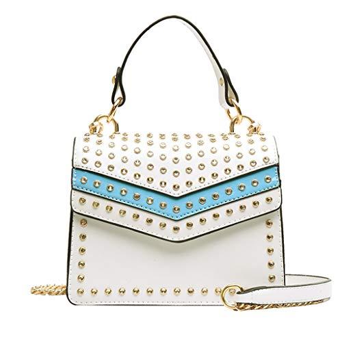 Crossbody Bag for Women, 2DXuixsh Rivets Chain Bag Fashion Versatile Bags Package Messenger Shoulder Handbag Purse White