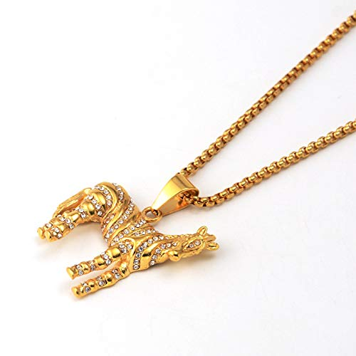 Men Hip Hop Ice Out Zircon Animal Zebra Pendants Necklace Stainless Steel Fashion Jewelry Gift