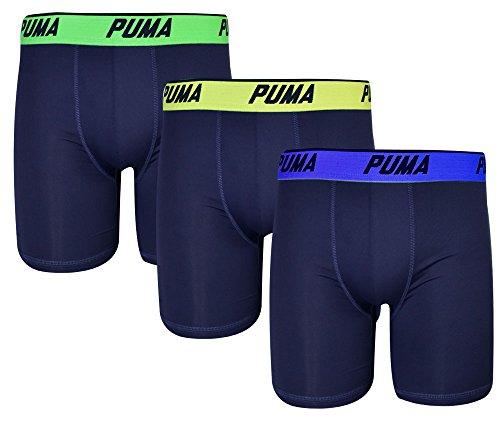 Puma Mens 3 Pack Tech Boxer Brief Blau