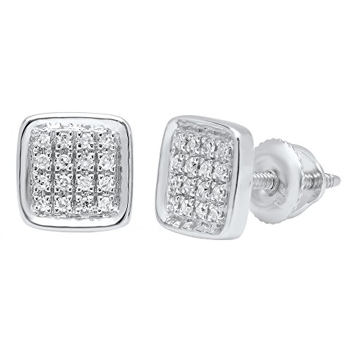 0.09 Carat (ctw) 14K White Gold Round White Diamond Micro Pave Square Shape Stud Earrings ()
