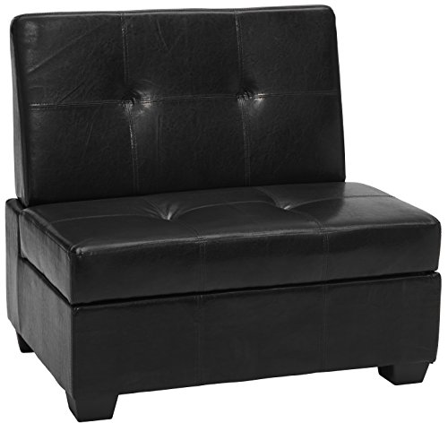 Epic Furnishings Butler Microfiber Upholstered Tufted Padded Hinged Storage Ottoman Bench, 48