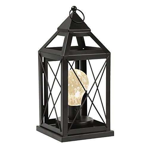 Circleware Lantern Metal Cage Style Desk, Table, or Hanging Lamp - Cordless Accent Light with LED Bulb - 10.25'' High