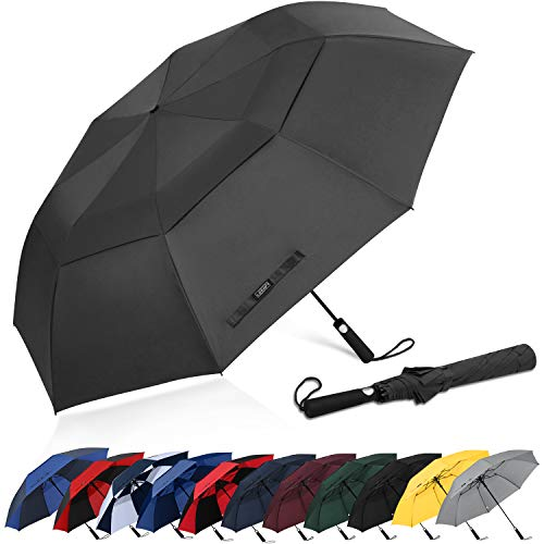 G4Free 62 Inch Portable Golf Umbrella Large Oversize Double Canopy Vented Windproof Waterproof Automatic Open Stick Umbrellas for Men Women(Black)