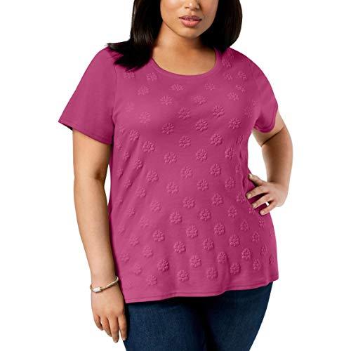 Karen Scott Womens Plus Embossed Pullover Graphic T-Shirt Pink 3X from Karen Scott