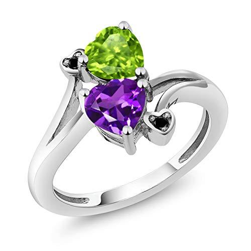 Gem Stone King 1.51 Ct Heart Shape Green Peridot Purple Amethyst 925 Sterling Silver Ring (Size 7) ()