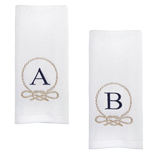 (Traditions White Coastal Rope Crest Embroidered Monogram Fingertip Towels, Set of 2 (Letter G))