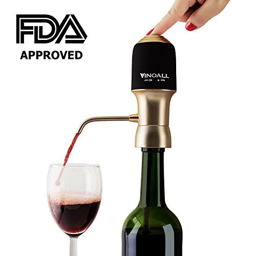 Instant Electric Wine Aerator By Vinoall - Enhance Flavor & Aroma With One-Touch Aeration, Luxury Decanter & Whisper Quiet Function, FDA Certified Medical-Grade Soft Silicone & BONUS Extra Tube