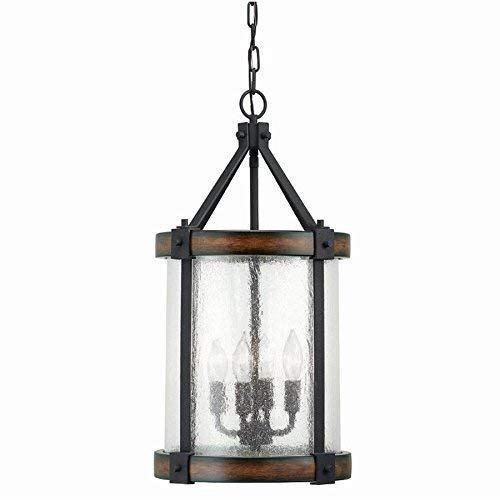 Transitional Distressed Black Chandelier - Kichler Lighting Barrington Distressed Black and Wood Rustic Single Seeded Glass Cylinder Pendant, 12.01