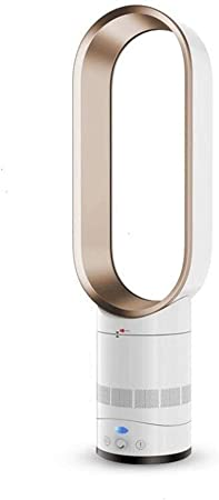 Opinión sobre FHDF Ventilador sin Cuchilla de Torre silencioso portátil Enfriamiento con Control Remoto, Ventilador Potente para el Dormitorio y la Oficina en el hogar (Blanco) (Color : Gold)