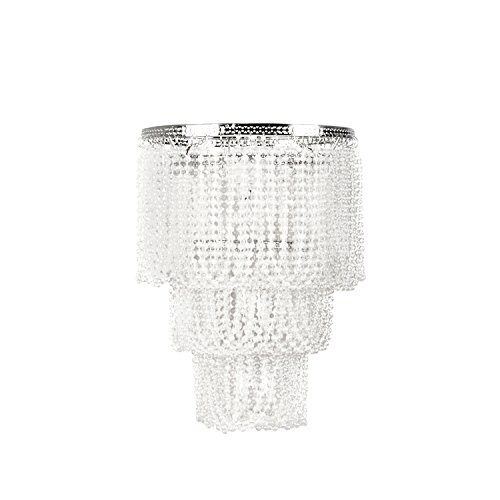 Tadpoles Pearlized Beaded Triple Layer Pendant Light Shade, Small, White