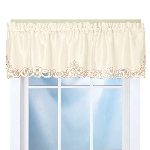 Elegance Scroll - Collections Etc Elegance Scroll Embroidered Cut-Out Window Valance with Rod Pocket Top for Easy Hanging, 58