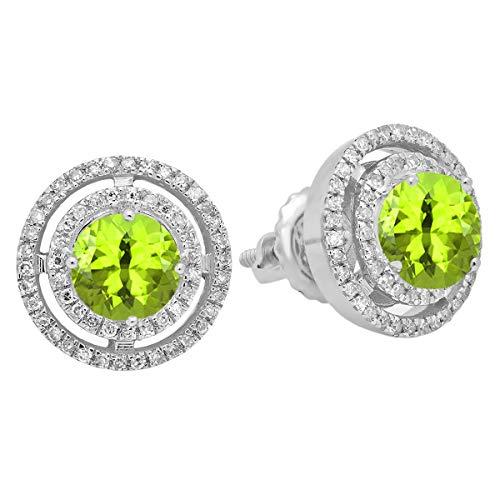Dazzlingrock Collection 14K Round Peridot & White Diamond Ladies Halo Style Stud Earrings, White Gold