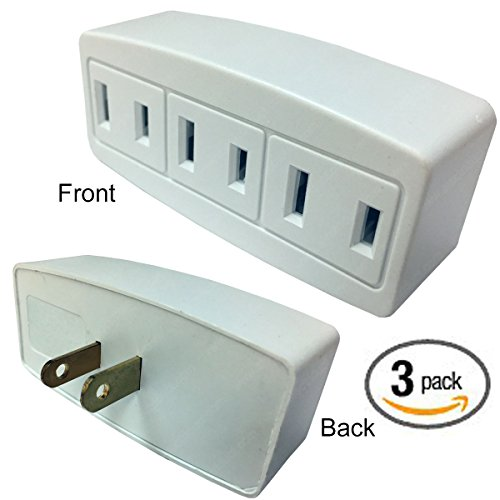 2 Prong Outlet (3 Outlet Polarized 2 Prong Power Tap Plug Adapter - 15 Amp, 125-Volt - White - 3 PACK)