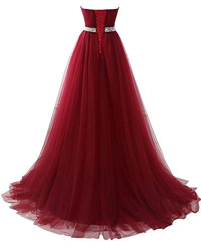 Damen Abendkleider A Abschlussball Tüll Brautjungferkleid Ballkleid CoutureBridal® Rot Linie Prinzessin Kleid Lang ZdxtXFB