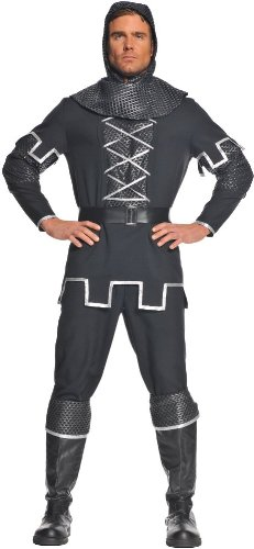 [Underwraps Men's Knight, Black/Silver, One Size] (Medieval Shirt Adult Costumes)