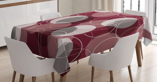 (Ambesonne Maroon Tablecloth, Retro Skinny Ring Shapes Overlapping Circles Funky Groovy Artistic Optical, Dining Room Kitchen Rectangular Table Cover, 60 W X 84 L inches, Maroon Peach Grey)