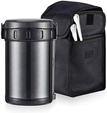 食品フラスコ - 保存袋付きステンレス製真空二重壁ジャー、キッズ大人の学校事務の旅行のための漏れ防止とBPAフリー