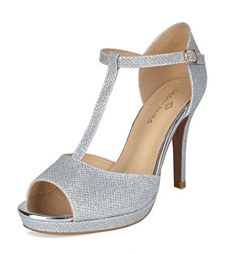 DREAM PAIRS Women's GAL_15 Silver Glitter Fashion Stiletos Heeled Sandals Size 7.5 B(M) US