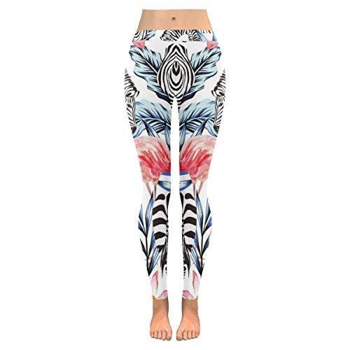 (INTERESTPRINT Summer Pink Flamingo Zebra Custom Stretchy Capri Leggings Skinny Pants for Yoga Running Pilates Gym M )
